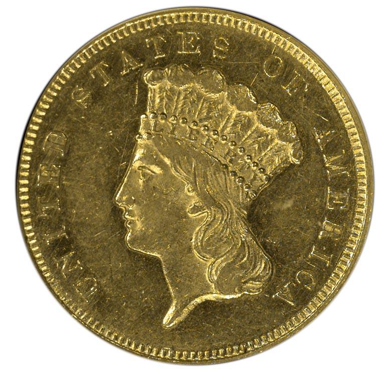 1865 3 Ms Three Dollar Gold Ngc