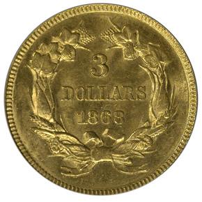 1868 $3 MS reverse