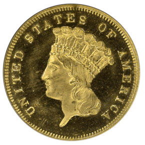 1875 $3 PF obverse