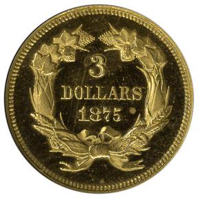1875 $3 PF reverse