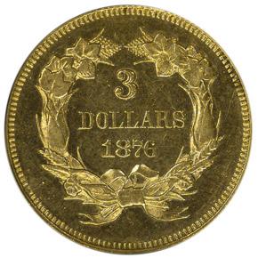 1876 $3 PF reverse