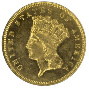 1881 $3 MS obverse