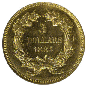 1884 $3 MS reverse