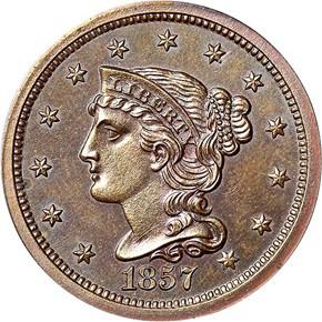 1857 LARGE 1C PF obverse