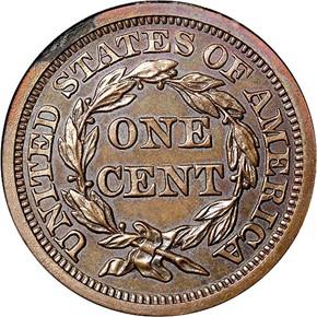 1857 LARGE 1C PF reverse
