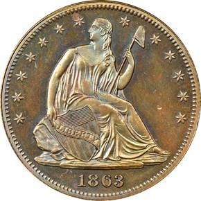 1863 J-341 50C PF obverse