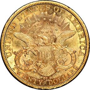 1877 CC $20 MS reverse