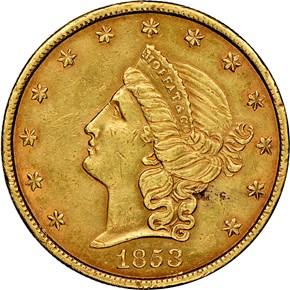 1853 MOFFAT & CO. $20 MS obverse
