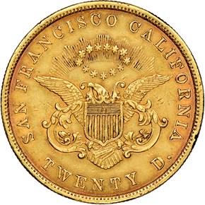1853 MOFFAT & CO. $20 MS reverse