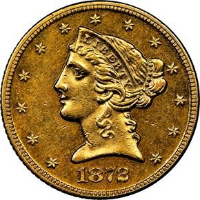 1872 $5 MS obverse
