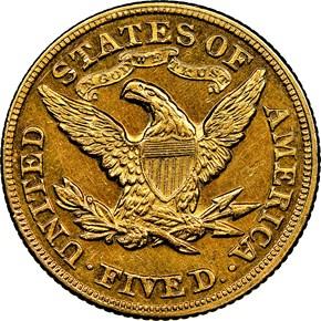 1872 $5 MS reverse