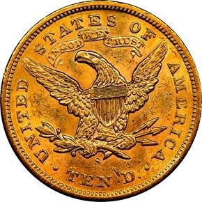1872 S $10 MS reverse