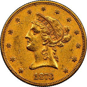 1873 $10 MS obverse