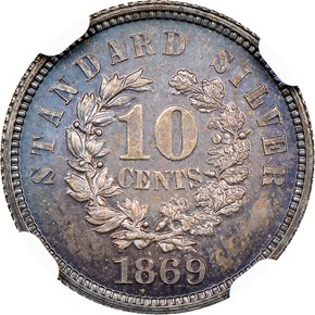 1869 J-696 10C PF reverse