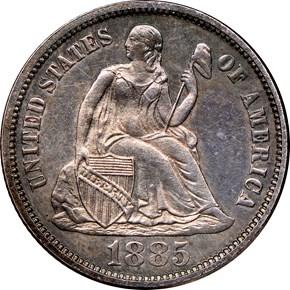 1885 10C PF obverse