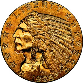 1908 INDIAN $5 MS obverse