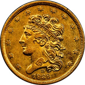 1838 D HM-1 $5 MS obverse