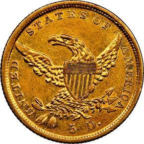 1838 D HM-1 $5 MS reverse