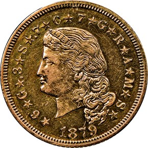 1879 FLOWING HAIR $4 PF obverse