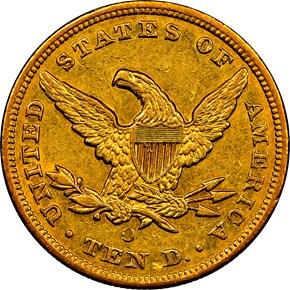 1852 O $10 MS reverse