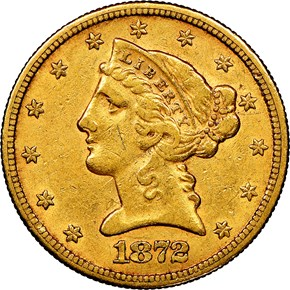 1872 CC $5 MS obverse