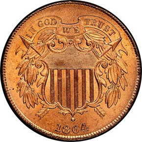 1864 LARGE MOTTO 2C MS obverse