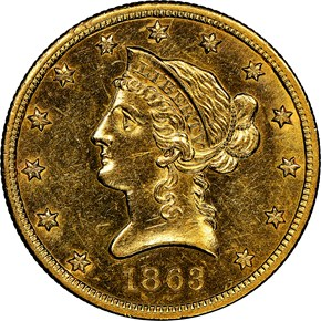 1863 S $10 MS obverse