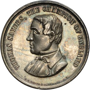1860 HK-10C HEENAN-SAYERS, SILVERED SC$1 MS obverse
