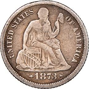 1873 CC ARROWS 10C MS obverse
