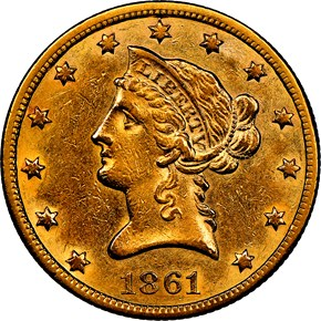1861 S $10 MS obverse