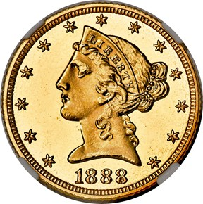 1888 $5 PF obverse