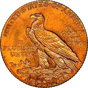 1915 $5 MS reverse