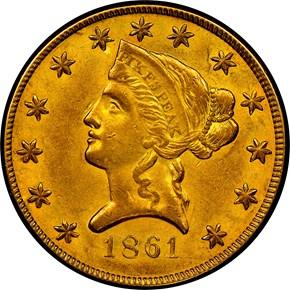 1861 CLARK, GRUBER & CO. $10 MS obverse