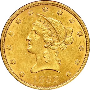1852 $10 MS obverse