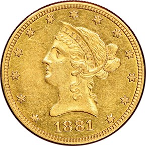 1881 O $10 MS obverse