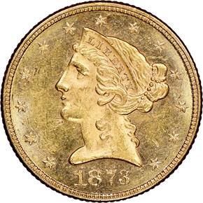 1873 OPEN 3 $5 MS obverse