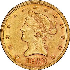 1853 $10 MS obverse