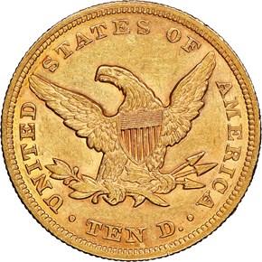 1853 $10 MS reverse