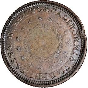1849 COPPER MASS. & CALIF CO. K-5b $5 MS reverse