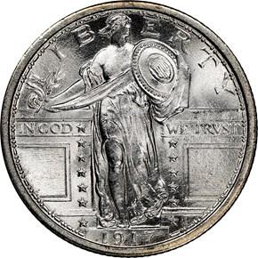1917 TYPE 1 25C MS obverse