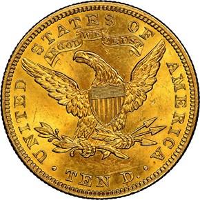 1907 LIBERTY $10 MS reverse
