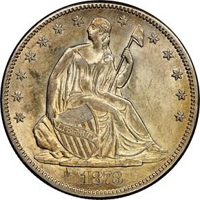 1873 CC NO ARROWS 50C MS obverse