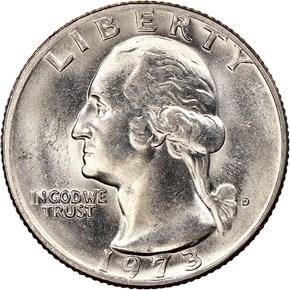 1973 D 25C MS obverse