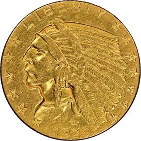 1929 $5 MS obverse