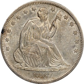 1867 S 50C MS obverse