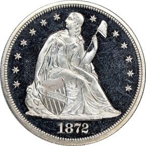 1872 $1 PF obverse