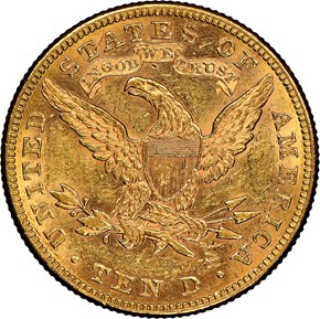 1886 $10 MS reverse