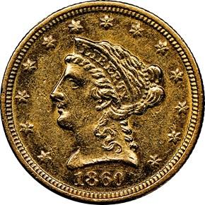 1860 C $2.5 MS obverse