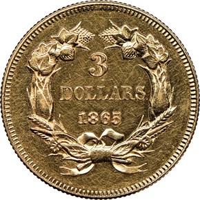 1865 $3 MS reverse