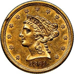 1861 S $2.5 MS obverse